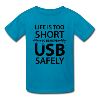 """Life is too Short"" (black) - Kids' T-Shirt turquoise / XS - LabRatGifts - 1"
