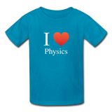 """I ♥ Physics"" (white) - Kids' T-Shirt turquoise / XS - LabRatGifts - 3"