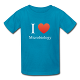 """I ♥ Microbiology"" (white) - Kids' T-Shirt turquoise / XS - LabRatGifts - 3"