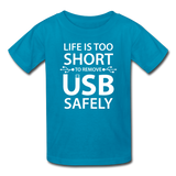 """Life is too Short"" (white) - Kids' T-Shirt turquoise / XS - LabRatGifts - 3"