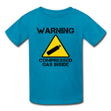"""Warning Compressed Gas Inside"" - Kids' T-Shirt turquoise / XS - LabRatGifts - 2"