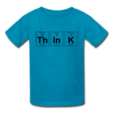 """ThInK"" (black) - Kids' T-Shirt turquoise / XS - LabRatGifts - 2"