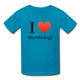 """I ♥ Microbiology"" (black) - Kids' T-Shirt turquoise / XS - LabRatGifts - 4"