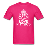 """Keep Calm and Love Physics"" (white) - Men's T-Shirt fuchsia / S - LabRatGifts - 4"