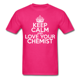 """Keep Calm and Love Your Chemist"" (white) - Men's T-Shirt fuchsia / S - LabRatGifts - 4"