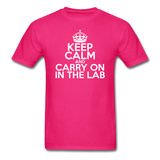 """Keep Calm and Carry On in the Lab"" (white) - Men's T-Shirt fuchsia / S - LabRatGifts - 4"