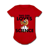 """This Girl Loves Science"" (blonde) - Baby Short Sleeve One Piece red / Newborn - LabRatGifts - 4"