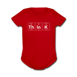 """ThInK"" (white) - Baby Short Sleeve One Piece red / Newborn - LabRatGifts - 2"