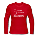 """Technically the Glass is Full"" - Women's Long Sleeve T-Shirt red / S - LabRatGifts - 3"