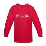 """ThInK"" (white) - Kids' Long Sleeve T-Shirt red / XS - LabRatGifts - 3"