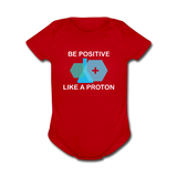 """Be Positive"" (white) - Baby Short Sleeve One Piece red / Newborn - LabRatGifts - 2"