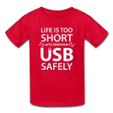 """Life is too Short"" (white) - Kids' T-Shirt red / XS - LabRatGifts - 4"