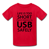 """Life is too Short"" (black) - Kids' T-Shirt red / XS - LabRatGifts - 4"