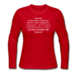 """Skeleton Inside Me"" - Women's Long Sleeve T-Shirt red / S - LabRatGifts - 2"