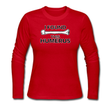 """I Found this Humerus"" - Women's Long Sleeve T-Shirt red / S - LabRatGifts - 5"