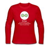 """Biology Division"" - Women's Long Sleeve T-Shirt red / S - LabRatGifts - 4"