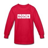 """BaCoN"" - Kids' Long Sleeve T-Shirt red / XS - LabRatGifts - 3"