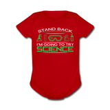 """Stand Back"" - Baby Short Sleeve One Piece red / Newborn - LabRatGifts - 2"