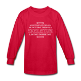 """Skeleton Inside Me"" - Kids' Long Sleeve T-Shirt red / XS - LabRatGifts - 3"