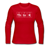 """ThInK"" (white) - Women's Long Sleeve T-Shirt red / S - LabRatGifts - 2"
