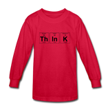 """ThInK"" (black) - Kids' Long Sleeve T-Shirt red / XS - LabRatGifts - 2"
