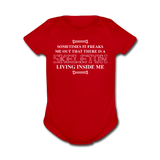 """Skeleton Inside Me"" - Baby Short Sleeve One Piece red / Newborn - LabRatGifts - 2"