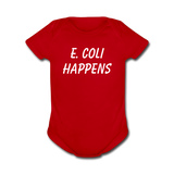 """E. Coli Happens"" (white) - Baby Short Sleeve One Piece red / Newborn - LabRatGifts - 4"