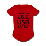 """Life is too Short"" (black) - Baby Short Sleeve One Piece red / Newborn - LabRatGifts - 5"