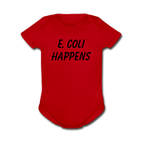 """E. Coli Happens"" (black) - Baby Short Sleeve One Piece red / Newborn - LabRatGifts - 5"