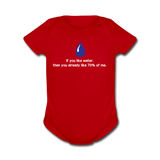 """If You Like Water"" - Baby Short Sleeve One Piece red / Newborn - LabRatGifts - 2"