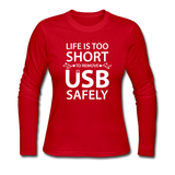 """Life is too Short"" (white) - Women's Long Sleeve T-Shirt red / S - LabRatGifts - 4"