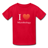 """I ♥ Microbiology"" (white) - Kids' T-Shirt red / XS - LabRatGifts - 5"
