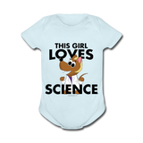 """This Girl Loves Science"" (blonde) - Baby Short Sleeve One Piece powder blue / Newborn - LabRatGifts - 6"