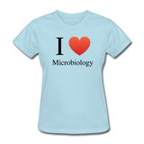 """I ♥ Microbiology"" (black) - Women's T-Shirt powder blue / S - LabRatGifts - 5"