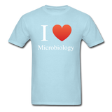 """I ♥ Microbiology"" (white) - Men's T-Shirt powder blue / S - LabRatGifts - 9"
