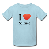 """I ♥ Science"" (black) - Kids' T-Shirt powder blue / XS - LabRatGifts - 3"