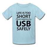 """Life is too Short"" (black) - Kids' T-Shirt powder blue / XS - LabRatGifts - 5"