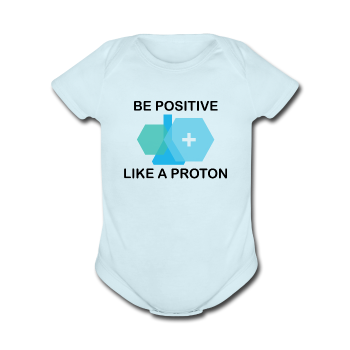 """Be Positive"" (black) - Baby Short Sleeve One Piece powder blue / Newborn - LabRatGifts - 1"