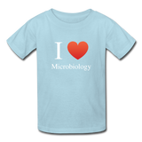 """I ♥ Microbiology"" (white) - Kids' T-Shirt powder blue / XS - LabRatGifts - 6"