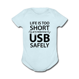 """Life is too Short"" (black) - Baby Short Sleeve One Piece powder blue / Newborn - LabRatGifts - 6"