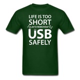 """Life is too Short"" (white) - Men's T-Shirt forest green / S - LabRatGifts - 3"