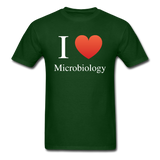 """I ♥ Microbiology"" (white) - Men's T-Shirt forest green / S - LabRatGifts - 4"