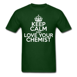 """Keep Calm and Love Your Chemist"" (white) - Men's T-Shirt forest green / S - LabRatGifts - 7"