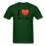 """I ♥ My Lab"" (black) - Men's T-Shirt forest green / S - LabRatGifts - 8"
