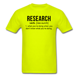 """Research"" (black) - Men's T-Shirt safety green / S - LabRatGifts - 8"