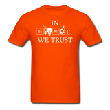"""In Science We Trust"" (white) - Men's T-Shirt orange / S - LabRatGifts - 11"