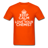 """Keep Calm and Love Your Chemist"" (white) - Men's T-Shirt orange / S - LabRatGifts - 5"