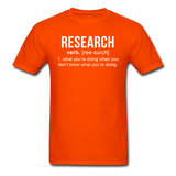 """Research"" (white) - Men's T-Shirt orange / S - LabRatGifts - 12"