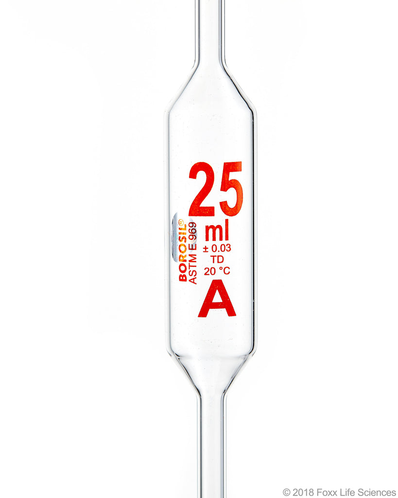 Borosil Volumetric Pipette Bulb Pipette Class A Accuracy ASTM Batch Certificate 25mL Borosilicate