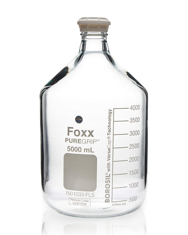 PUREGRIP® Bottles - Reagent - Transparent  Graduated with GL45 Screw Cap and Pouring Ring - 5000mL - 1EA